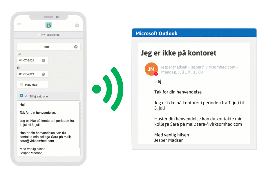 Outlook e-mail autosvar i Microsoft365